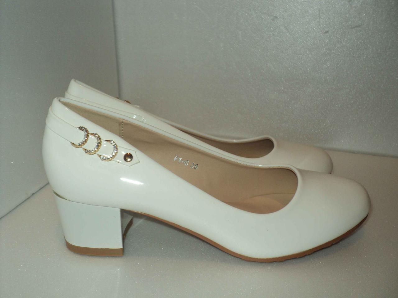 Женские белые лаковые туфли. р. 36, 37, 41