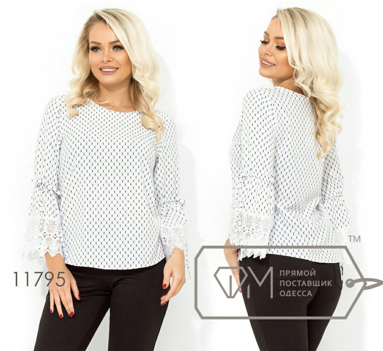 Блузка с кружевными рукавами 42-48 (в расцветках)