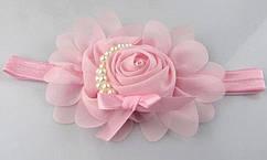 Детская светло-розовая повязка - окружность 36-50см,размер цветка 13см
