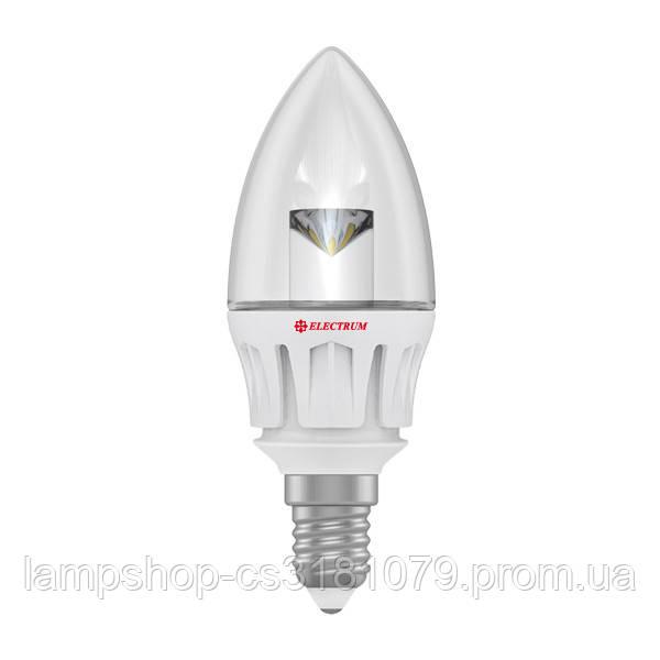 Лампа светодиодная свеча ретро LC-6 5W E14 3000K алюм. корп. A-LC-0417