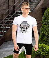 Футболка мужская Pobedov  трикотажная на лето с принтом собаки в шапке в белом цвете , фото 1