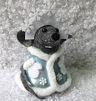 Формовая игрушка из стекла Крыска Снегурочка
