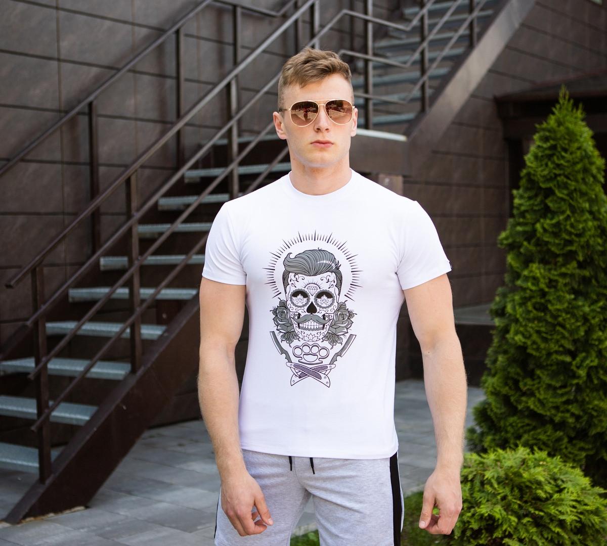 Трикотажная мужская футболка Pobedov  на лето с принтом барбера в белом цвете