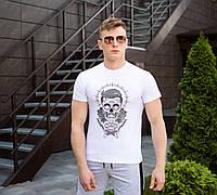 Трикотажная мужская футболка Pobedov  на лето с принтом барбера в белом цвете , фото 1