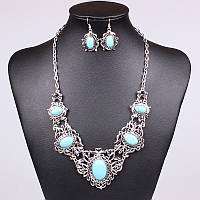 Набор Ажурный Бирюза серьги ожерелье (MN101430) - ОПТ