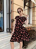 Женское яркое платье с разным принтом в расцветках. Ю-1-0519