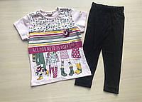 Летний детский костюм футболка с лосинами для девочки от 4 до 7 лет светло розовый