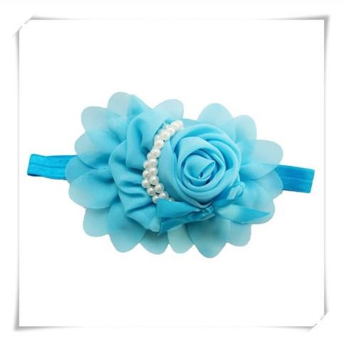Детская голубая повязка - окружность 36-50см, размер цветка 13см