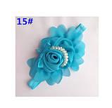 Детская голубая повязка - окружность 36-50см, размер цветка 13см, фото 2