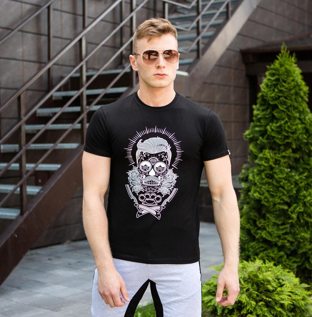 Мужская футболка   Pobedov из трикотажа с короткими рукавами с принтом барбера (черная), ОРИГИНАЛ