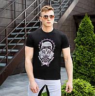 Мужская футболка   Pobedov из трикотажа с короткими рукавами с принтом барбера (черная), ОРИГИНАЛ, фото 1