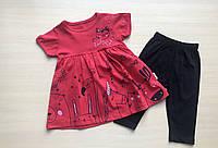 Летний костюм детский платье с капрями для девочки от 1 до 4 лет коралловый с котами