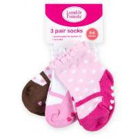 Носки Luvable Friends 3 пары нескользящие, для девочек (23117.6-12 F)