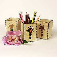 """Подставка для ручек деревянная """"Лампа"""", LaserBox"""
