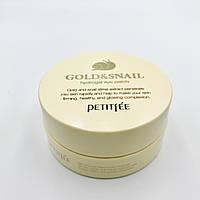 Патчи под глаза с экстрактом муцина улитки для чувствительной кожи Gold & Snail Hydrogel Eye Patch Petitfee - 60 шт