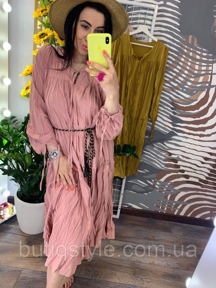 Стильное женское платье-миди свободного кроя (коттон-жатка)
