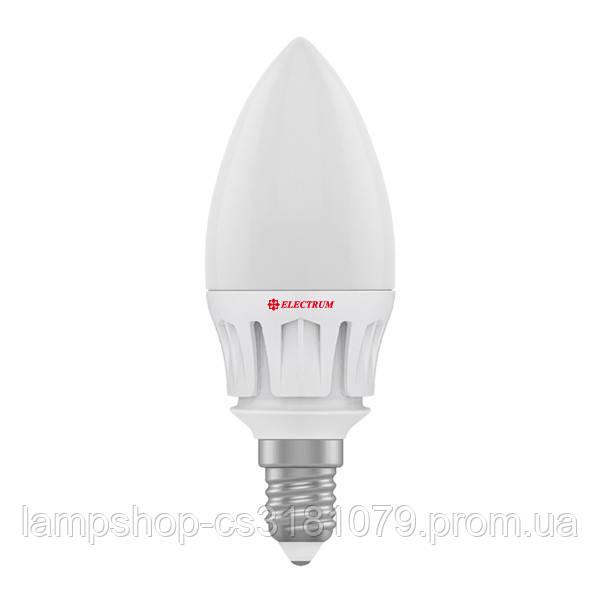 Лампа светодиодная свеча LC-14 7W E14 2700K алюм. корп. A-LC-0479