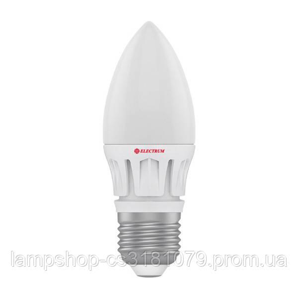 Лампа светодиодная свеча LC-16 6W E27 4000K алюм. корп. A-LC-0397