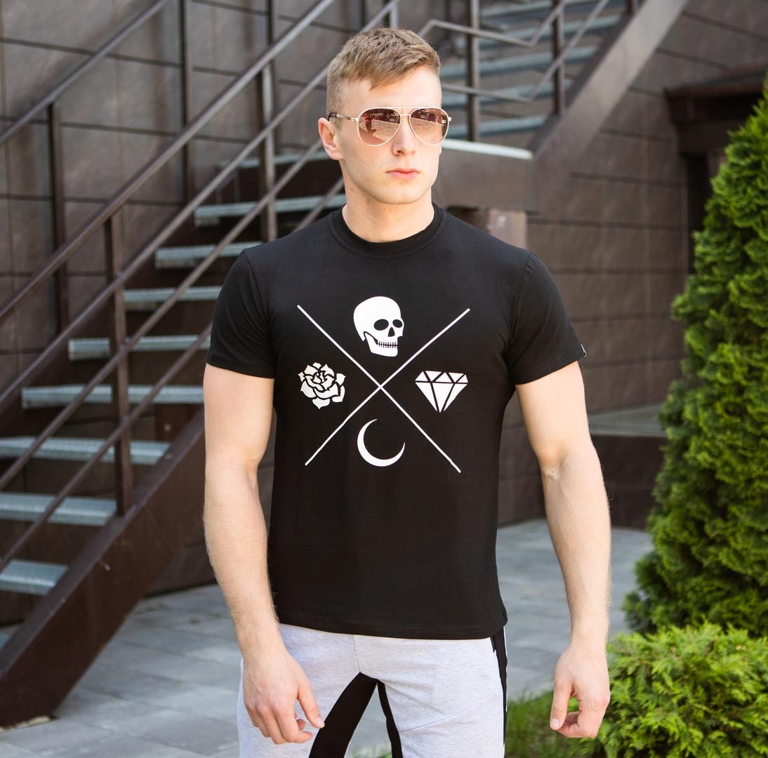 Футболка мужская Pobedov стрейчевая стильная качественная в черном цвете