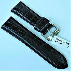 Ремінець з натуральної шкіри CONDOR 285.24.01 (24 мм) чорний шкіряний ремінець на годинник ремінець для