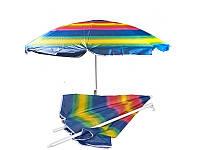 Зонт с наклоном 180см, солнцезащитный зонт с напылением, пляжный зонт, фото 1