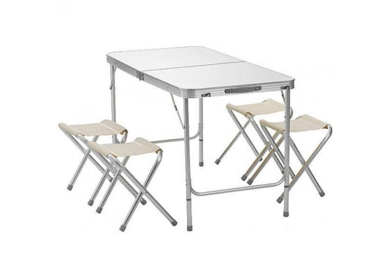Складной туристический стол + 4 стула Folding Table 120x60 см