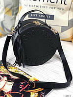 Круглая черная женская сумочка кросс-боди маленькая сумка кожзам клатч круглый черный