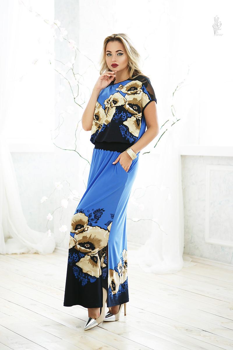 Длинное батальное летнее платье Ирма-1 46-56