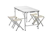 Туристичний складаний стіл і 4 стільця Folding Table 120x60 см, похідний набір стіл і стільці, фото 1