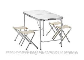 Туристичний складаний стіл і 4 стільця Folding Table 120x60 см, похідний набір стіл і стільці