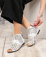 37 размерЖенские бело-серебристые летние ботинки на низком ходу натуральная кожа/сатин с перфорацией