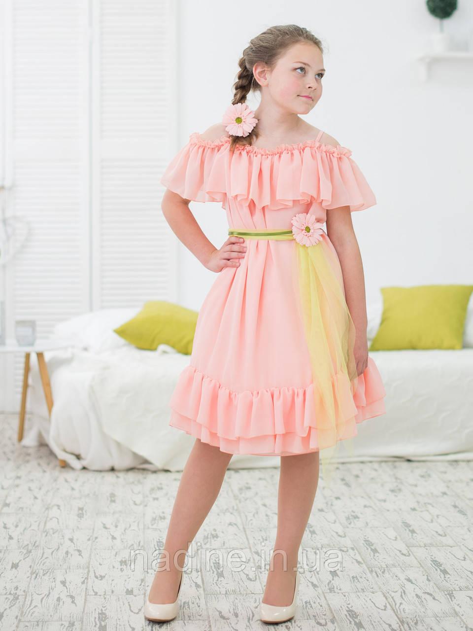 Шифоновое платье Nadine Charming Gerbera рост 146 цвет персиковый