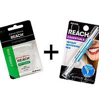 Набор Отбеливающий карандаш для зубов и Натуральная Карбоновая нить с мятным вкусом Reach