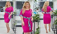 Женское  платье с поясом Софт Размер 48 50 52 54 56 58 60 62 В наличии 2 цвета, фото 1