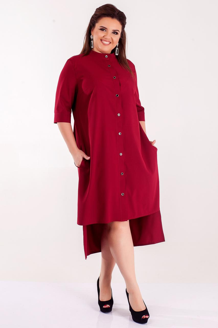 Стильное Женское платье-рубашка (50-64) бордо