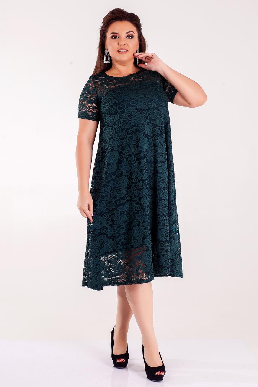 Гипюровое платье женское больших размеров (50-64) изумруд