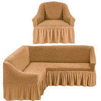 Чехол- покрывало на угловой диван и кресло MILANO медовый  и еще 15 расцветок