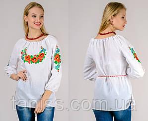 Ошатна жіноча вишиванка, блузка, машинна вишивка, тканина бавовна р. 42,46,48,50,52,54,56,58 біла (12001)