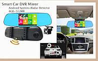 Зеркало видеорегистратор с АНТИРАДАРОМ, GPS, Wi-Fi, камерой заднего вида DVR T100 Pro