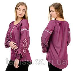 Ошатна жіноча блузка-вишиванка, довгий рукав, машинна вишивка р. 42,44 марсала