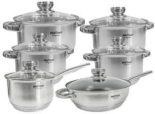 Набор кухонной пос Hoffner 9922 c многослойным дном, 12 предметов, 4 кастрюли, сковорода, сотейник