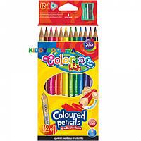 Карандаши треугольные цветные с точилкой Colorino 54706PTR, 12 цветов