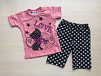 Пижама детская с кошечками для девочки от 1 до 3 лет розовая с шортами в горошек