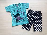 Пижама детская с кошечками для девочки от 1 до 3 лет бирюзовая с шортами в горошек