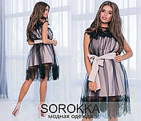 Нарядное женское платье Креп костюмка и евро сетка Размер 42 44 46 В наличии 3 цвета, фото 1