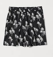 """Черные шорты """"Пальмы"""" для девочки, H&M, 070252702"""