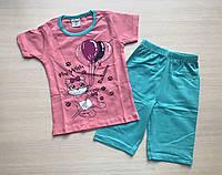 """Пижама детская """"Кошка с воздушными шарами"""" для девочки от 1 до 3 лет коралловая"""