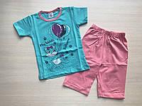"""Пижама детская """"Кошка с воздушными шарами"""" для девочки от 1 до 3 лет бирюзовая"""