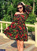 Летнее Платье на темном фоне красные цветы  BD-9581