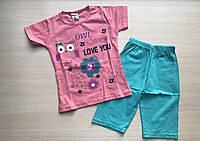 """Пижама детская """"Птичка с ромашками"""" для девочки от 1 до 3 лет кораллового цвета"""